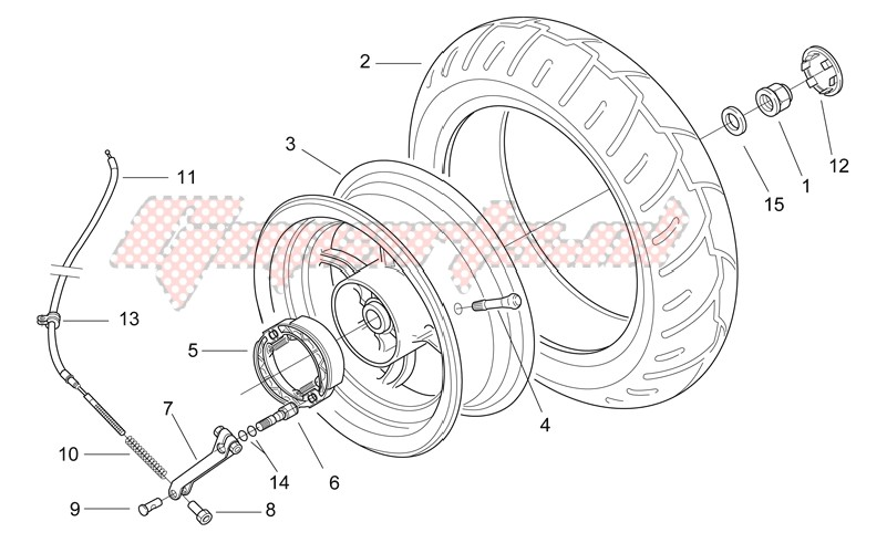 Rear wheel - drum brake image