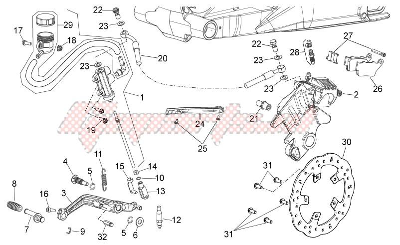 Rear brake system image