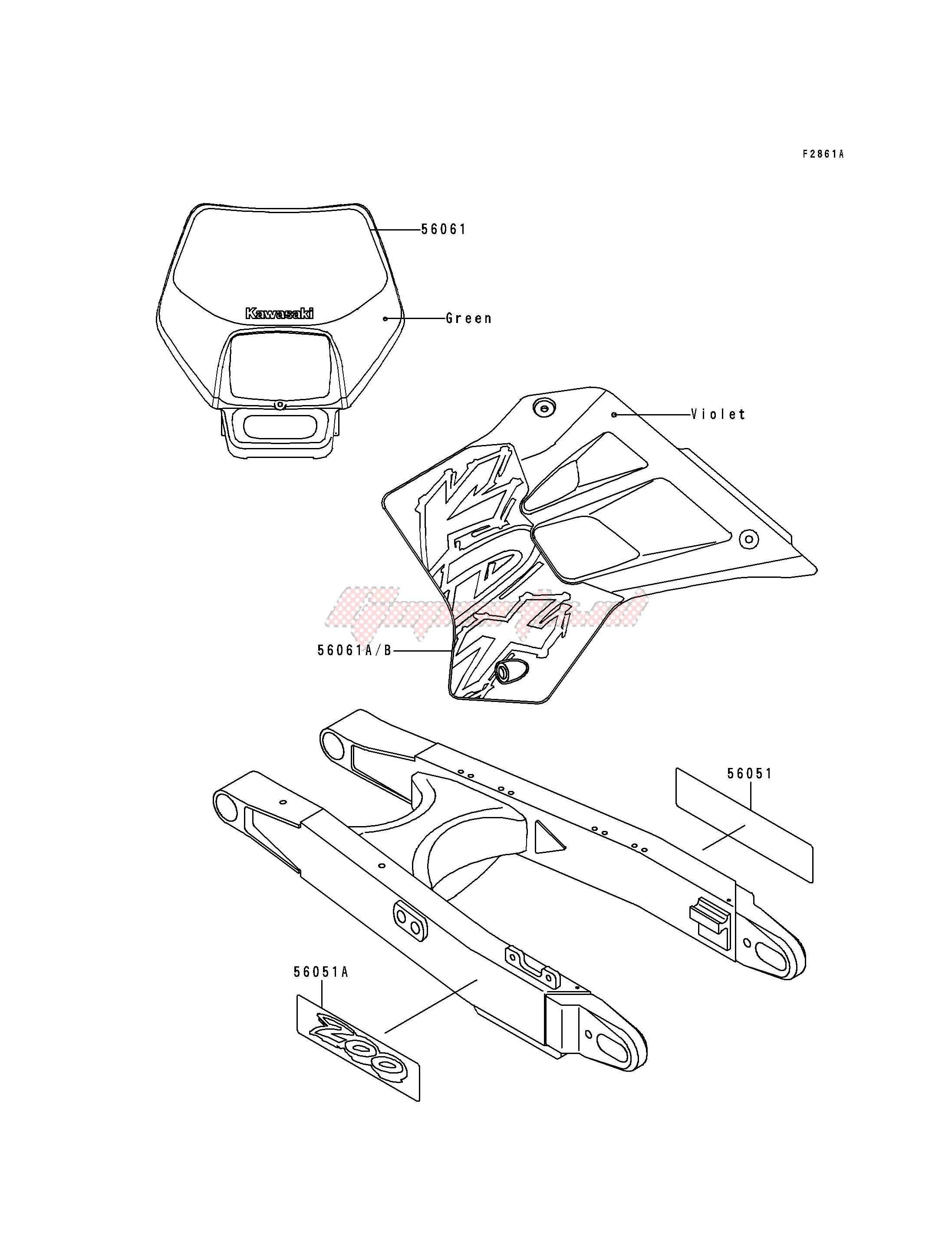 DECALS-- KDX200-H2- - blueprint