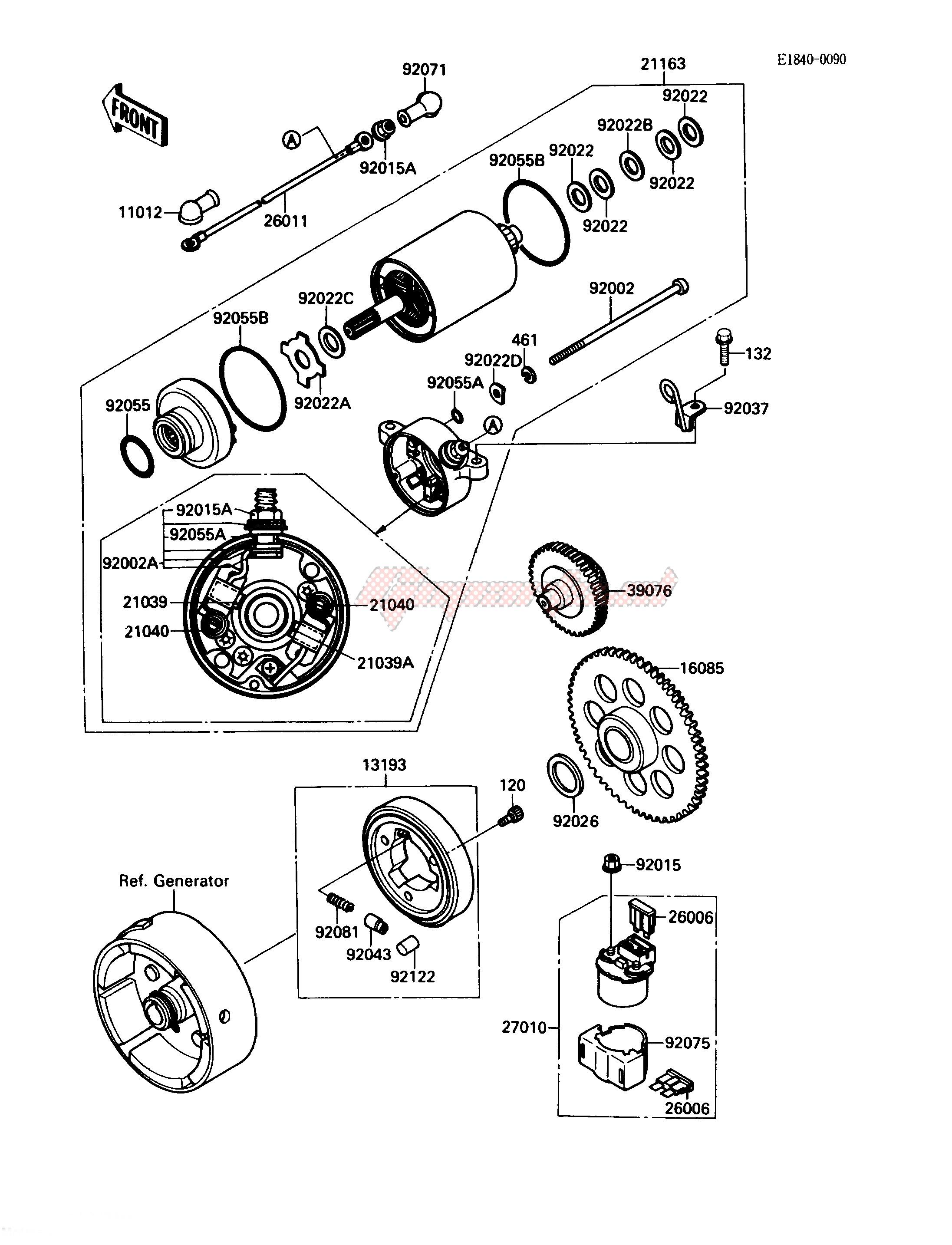 OEM STARTER MOTOR - (Kawasaki [All terrain] KLF 220 A [BAYOU 220] (A1-A4) [BAYOU  220] / 1989) | GopartsGoparts