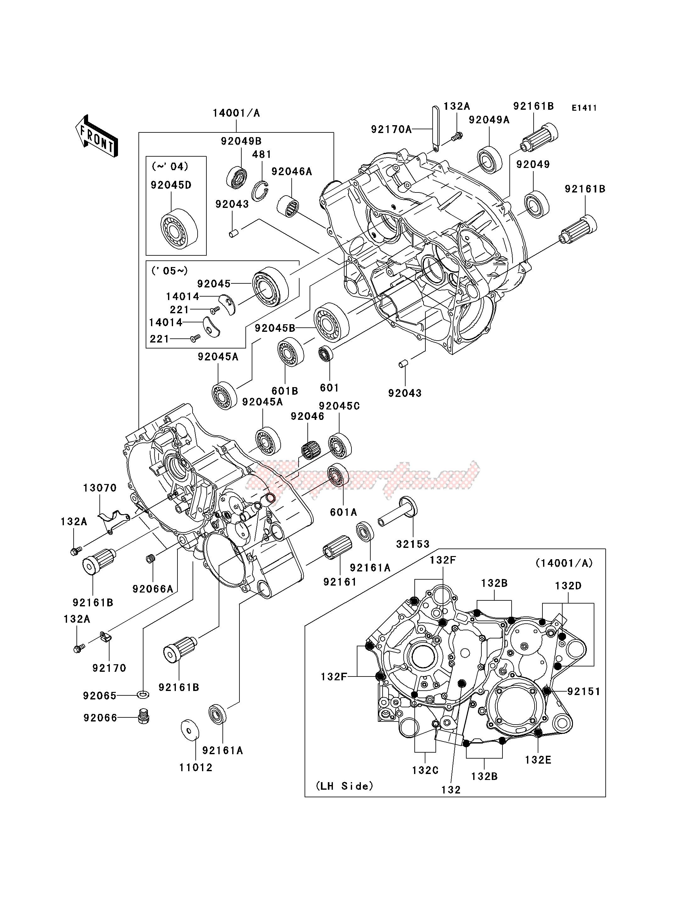 OEM CRANKCASE - Kawasaki [All terrain] KVF 360 C [PRAIRIE 360 4X4 ADVANTAGE  CLASSIC AND HARDWOODS GREEN HD] (C1-C3) [PRAIRIE 360 4X4 ADVANTAGE CLASSIC  AND HARDWOODS GREEN HD] / 2003 | Goparts | 2003 Kawasaki 360 Engine Diagram |  | Goparts