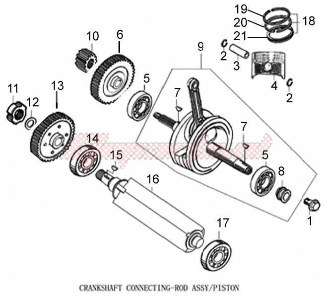 Engine-Cylinder - Piston - Wrist pin unit
