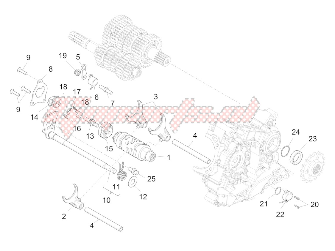 Engine-Gear box / Selector / Shift cam