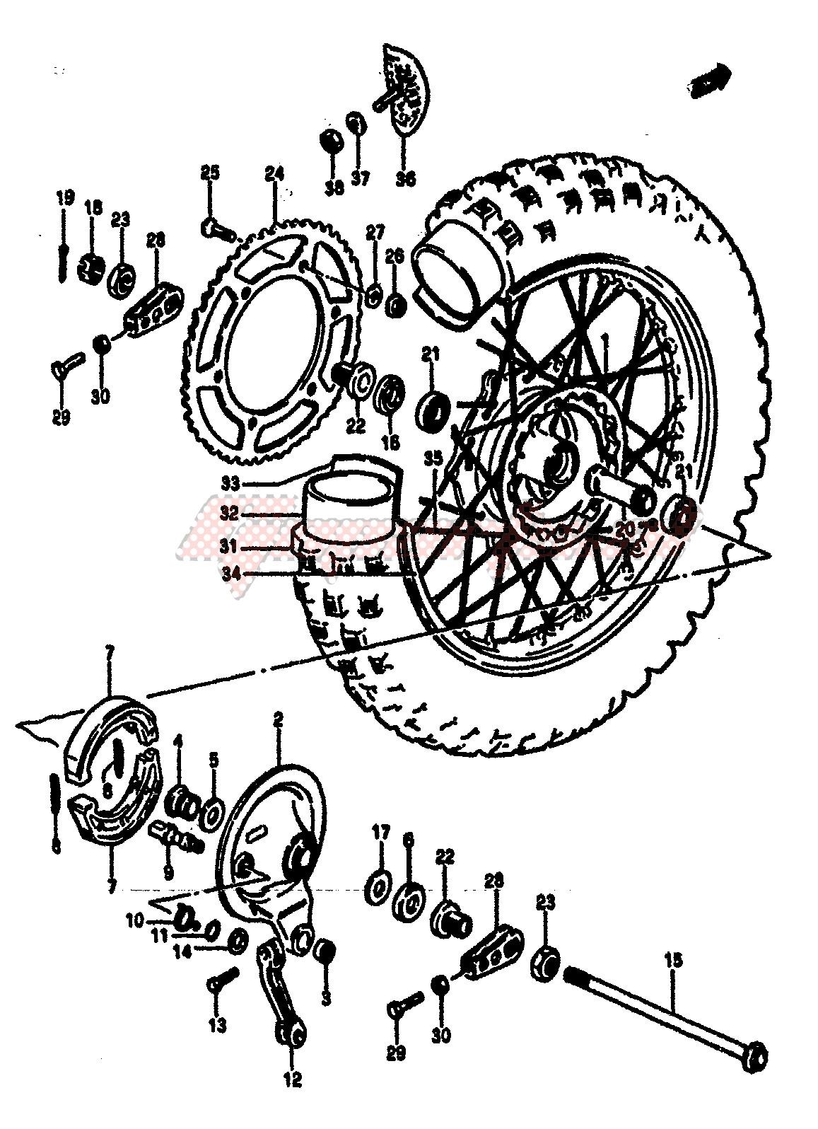 REAR WHEEL (MODEL F) blueprint