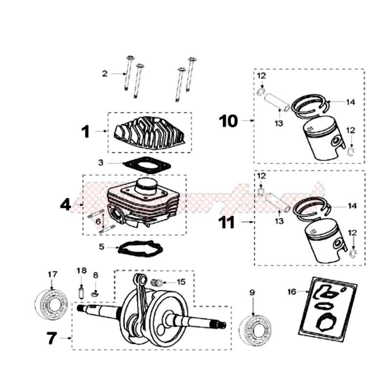 CRANKSHAFT AND CYLINDER blueprint