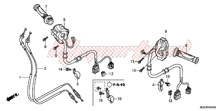 SWITCH/CABLE (VFR1200FD) blueprint