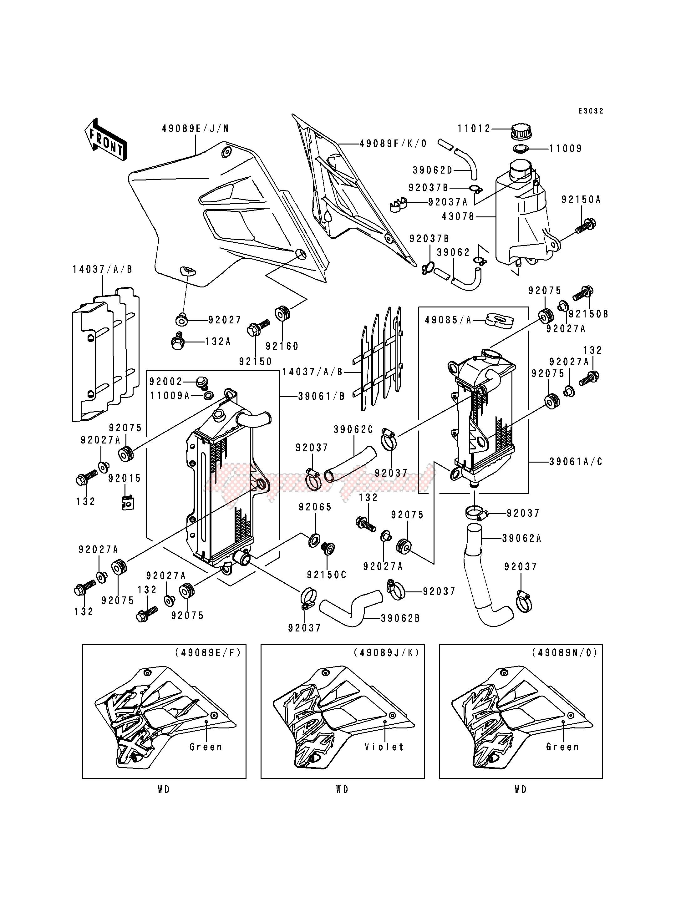 RADIATOR -- KDX200-H1 - H3- - blueprint