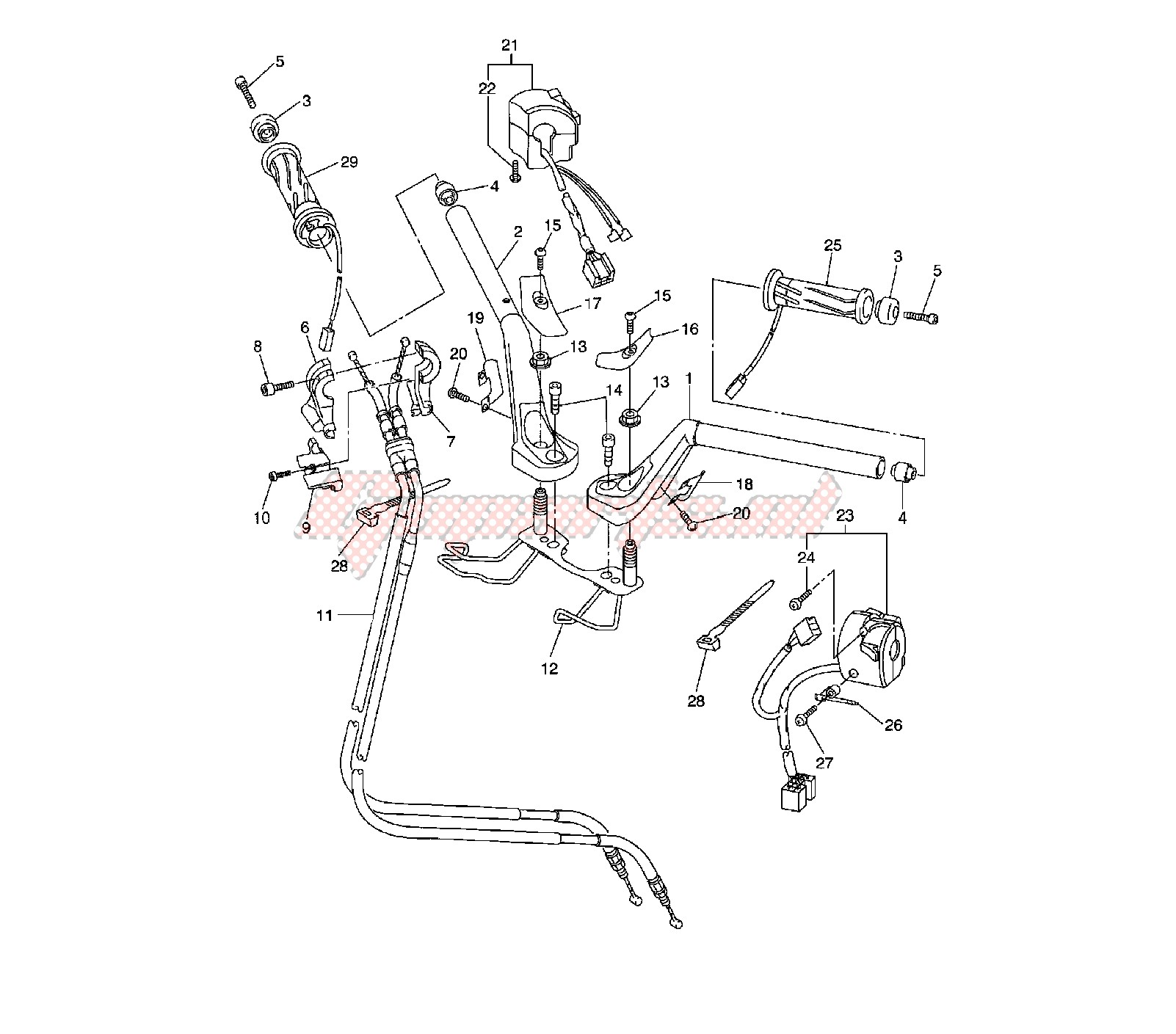 STEERING HANDLE AND CABLE blueprint