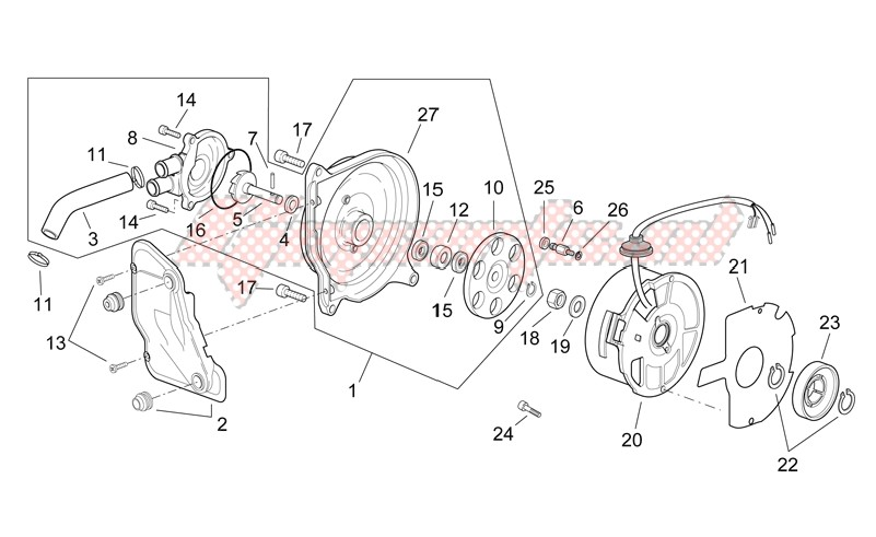 Engine-Flywheel - Water pump