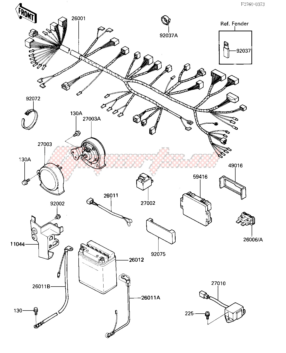 [DIAGRAM_5LK]  OEM CHASSIS ELECTRICAL EQUIPMENT - (Kawasaki [Motorcycle] ZL 1000 A [ZL1000  ELIMINATOR] (A1) / 1987) | Goparts | Zl1000 Wiring Diagram |  | Goparts