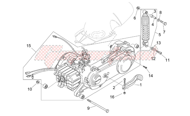 Frame-Engine - Rear shock absorber