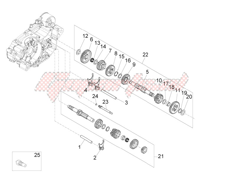 Engine-Gear box - Gear assembly