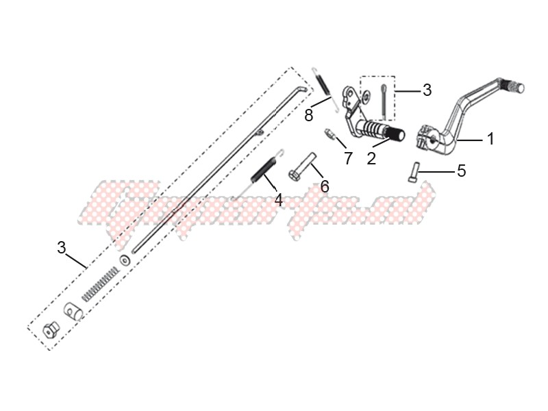Frame-Rear brake pedal assembly
