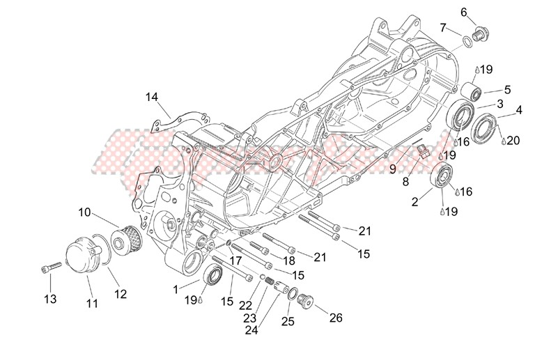 Engine-Central semi - crankcase