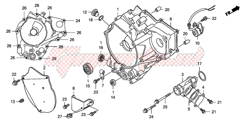 -REAR CRANKCASE COVER (TRX250EX3/4/5/6/7/8)