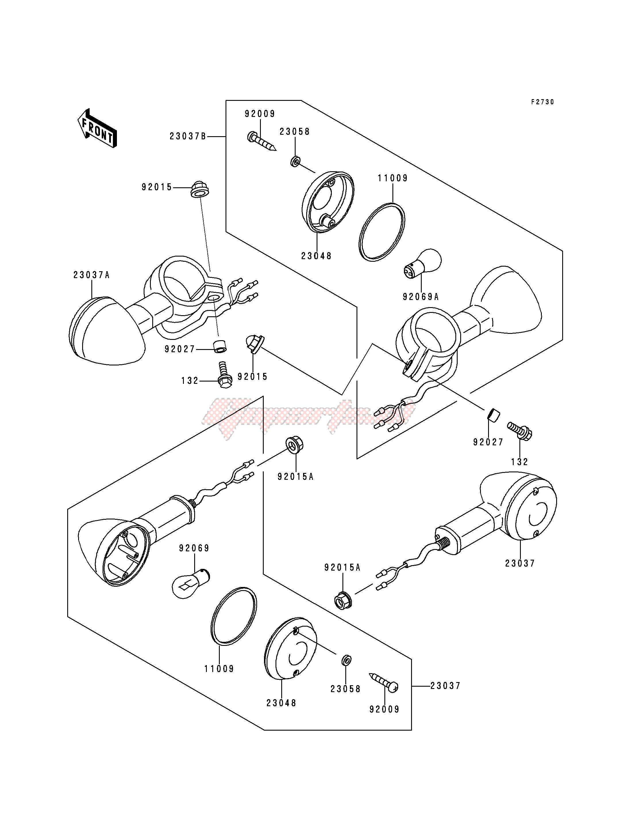 oem turn signals - (kawasaki [motorcycle] vn 800 b [vulcan 800 classic]  (b1-b5) [vulcan 800 classic] / 2000) | goparts  goparts