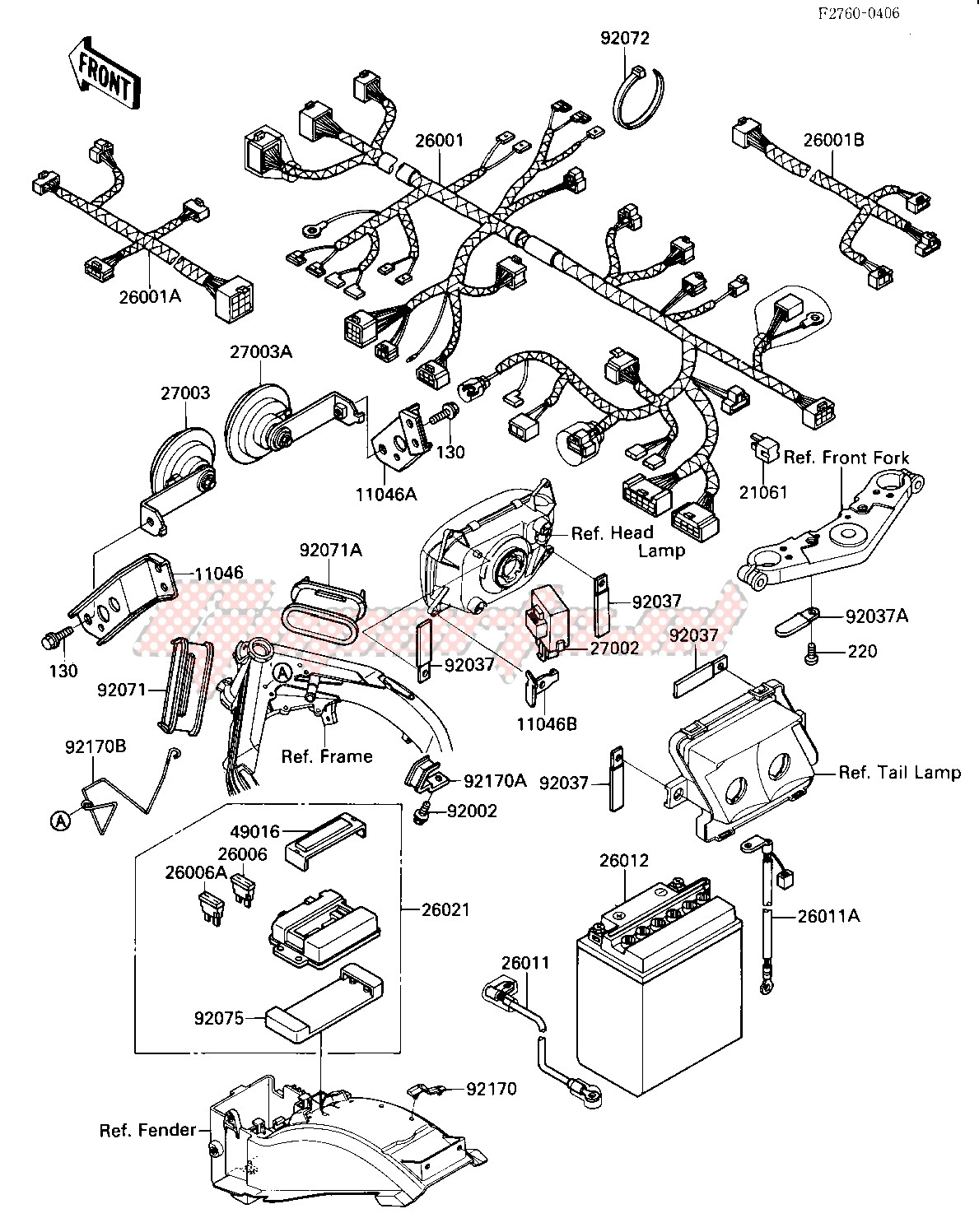 [DIAGRAM_38IS]  OEM CHASSIS ELECTRICAL EQUIPMENT - (Kawasaki [Motorcycle] ZX 1000 B [NINJA  ZX-10] (B1-B2) [NINJA ZX-10] / 1988) | Goparts | Zx1000 Wiring Diagram |  | Goparts
