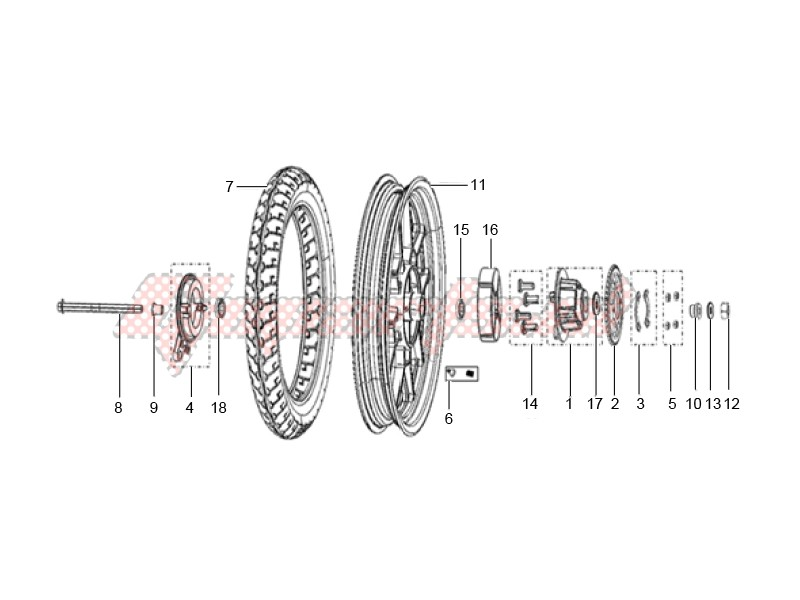 Rear wheel made of alloy assembly image