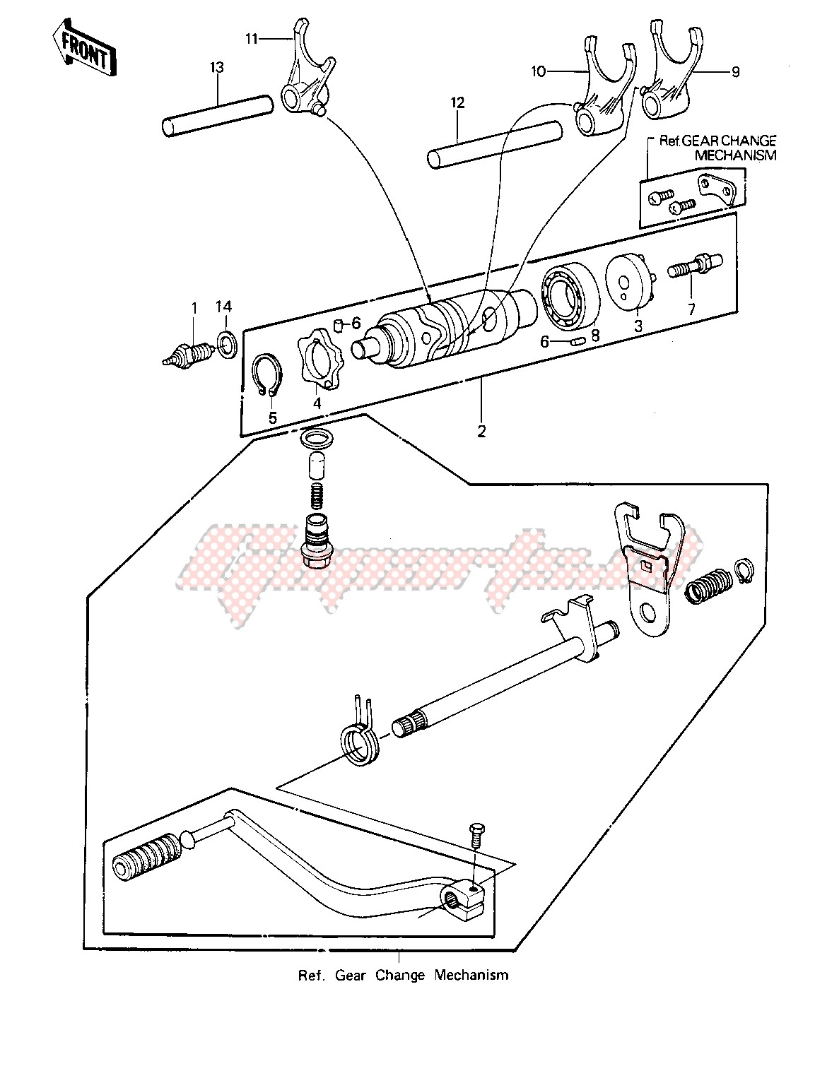 GEAR CHANGE DRUM & FORKS -- 81-82 KLT200-A1_A2_A3- - image