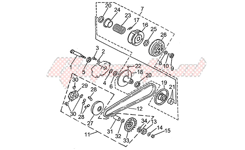 Engine-Speed variator with clutch