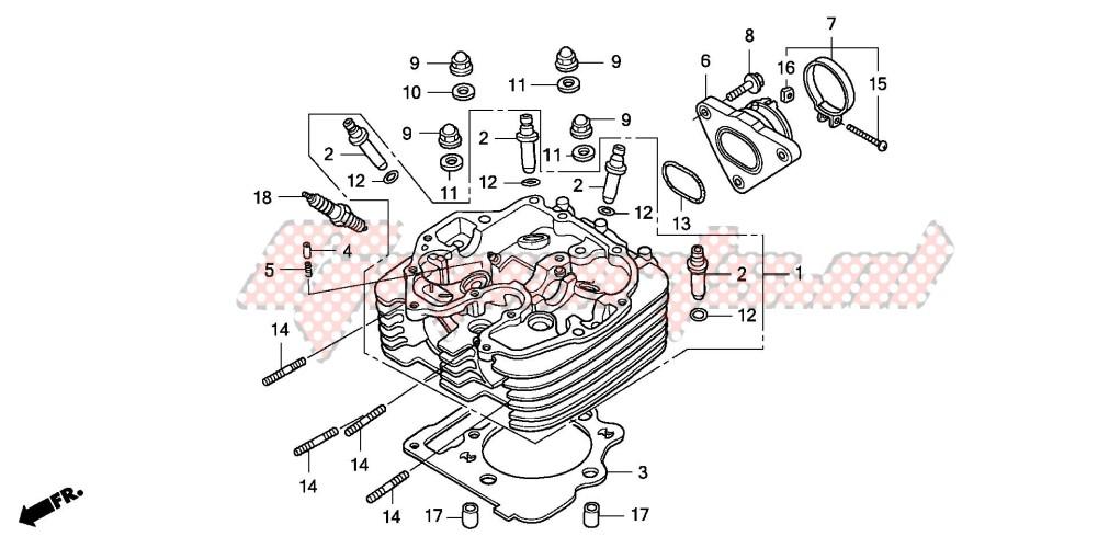 OEM parts Honda [All terrain] TRX400EX SPORTRAX 400EX / 2007 | Goparts | Trx400ex Engine Head Diagram |  | Motorcycle and Scooter parts | Goparts