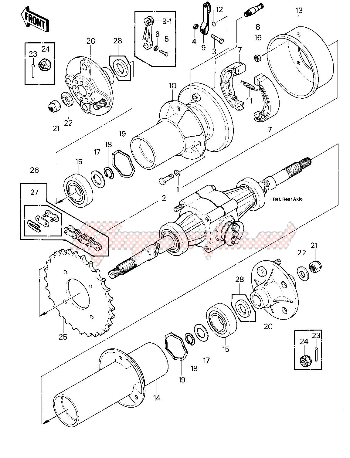 REAR BRAKE_CHAIN -- 81-82 KLT200-A1_A2_A3- - image