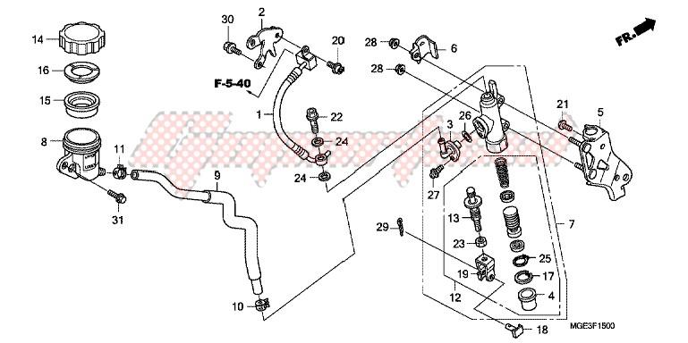 RR. BRAKE MASTER CYLINDER blueprint