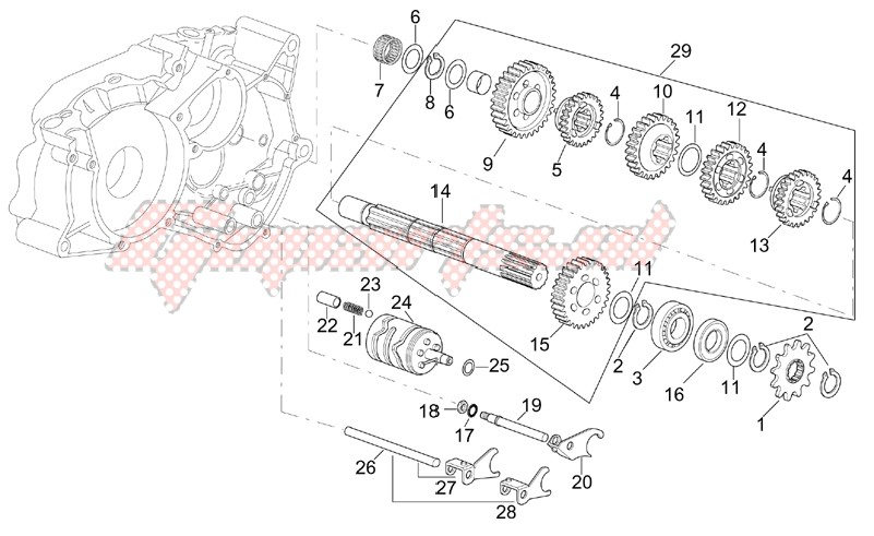 Gearbox driven shaft image