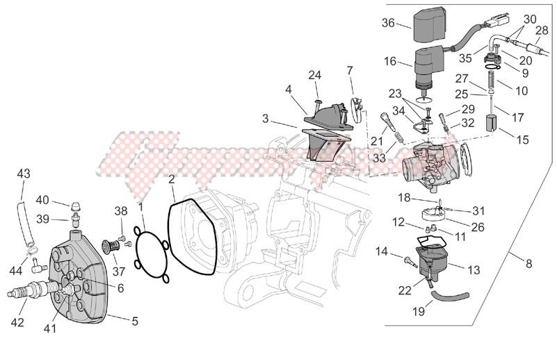 Cylinder head - carburettor image