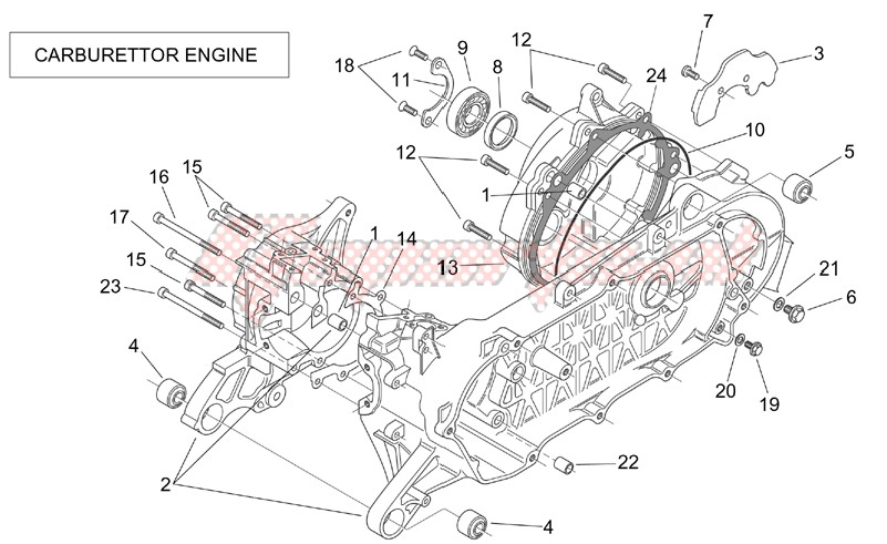 Engine-Crank-case (Carburettor)