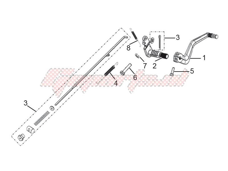 Rear brake pedal assembly image