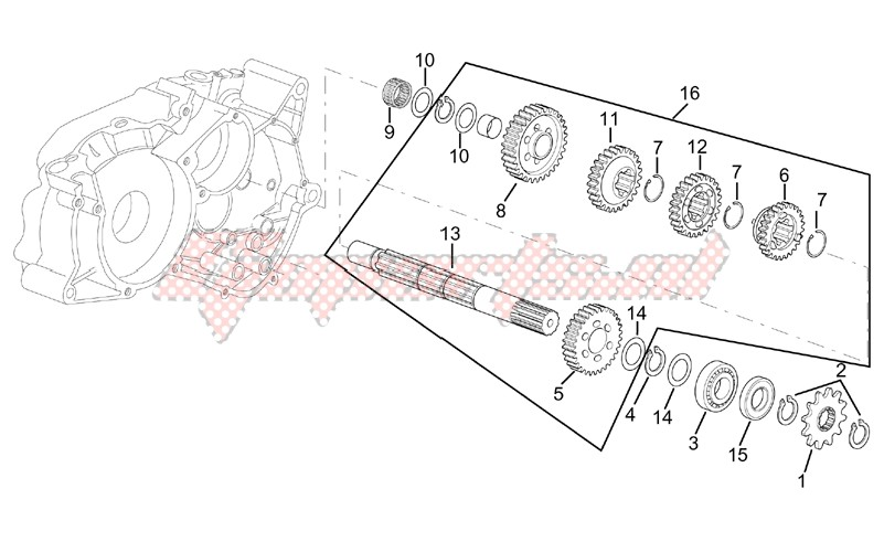 Driven shaft 5 speed gearbox image