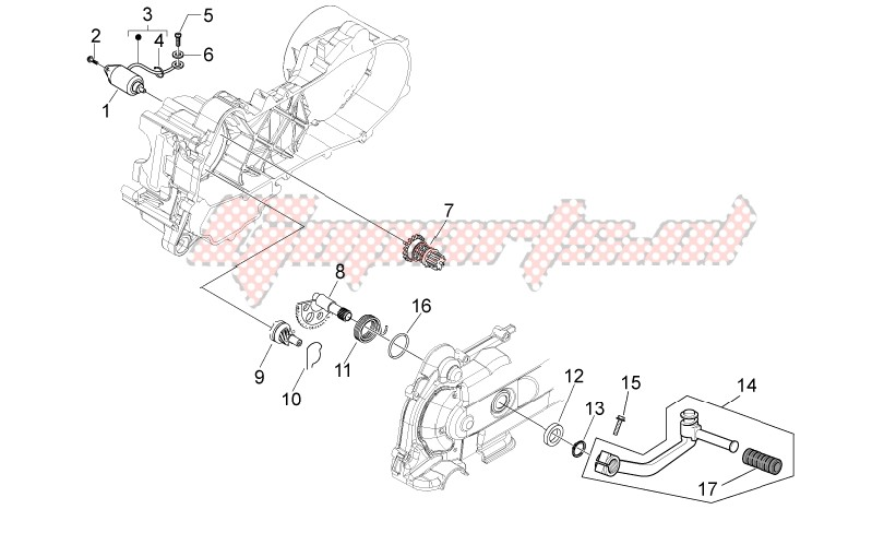 Engine-Kick-start gear - starter motor