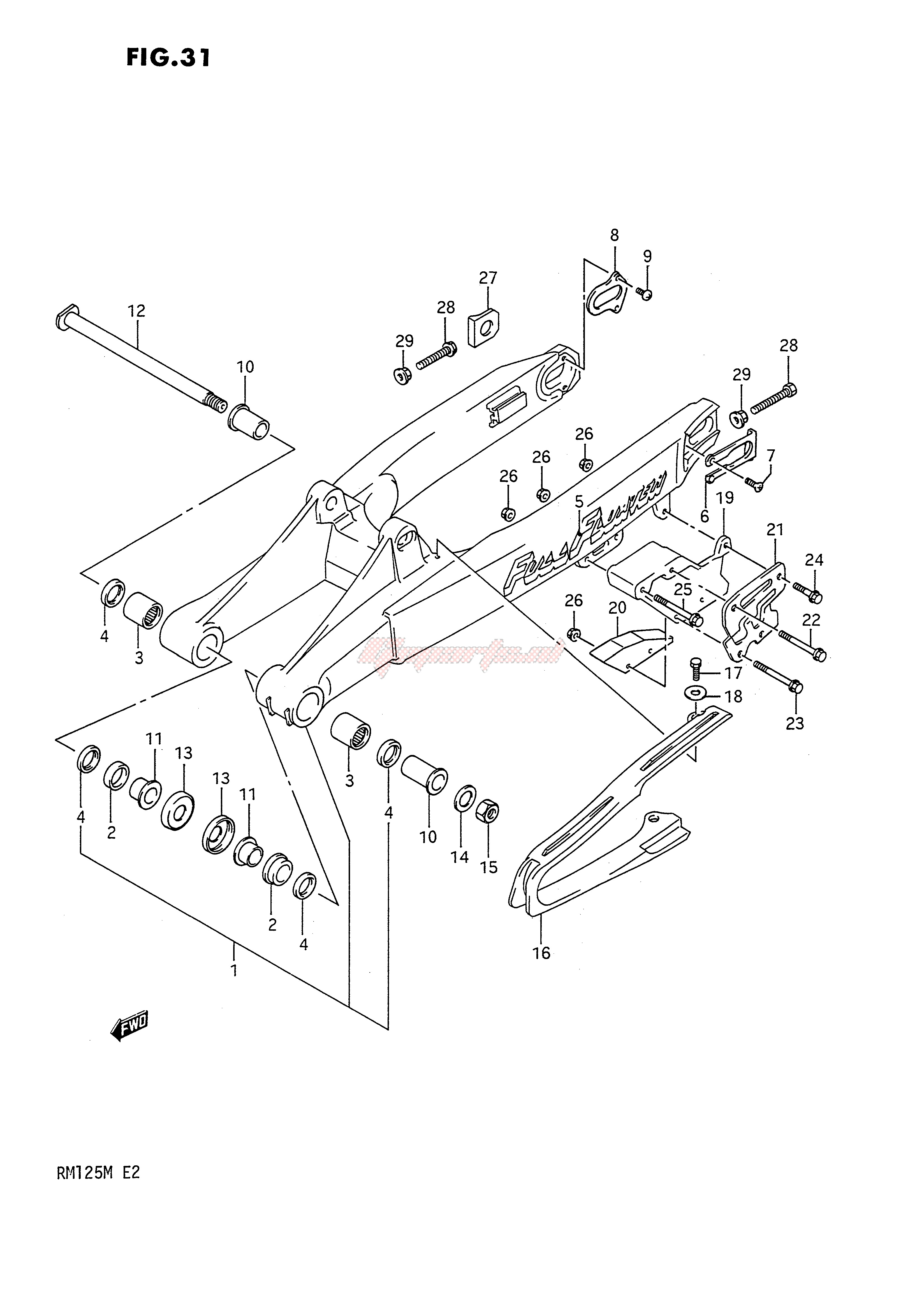 REAR SWINGING ARM (MODEL K) blueprint