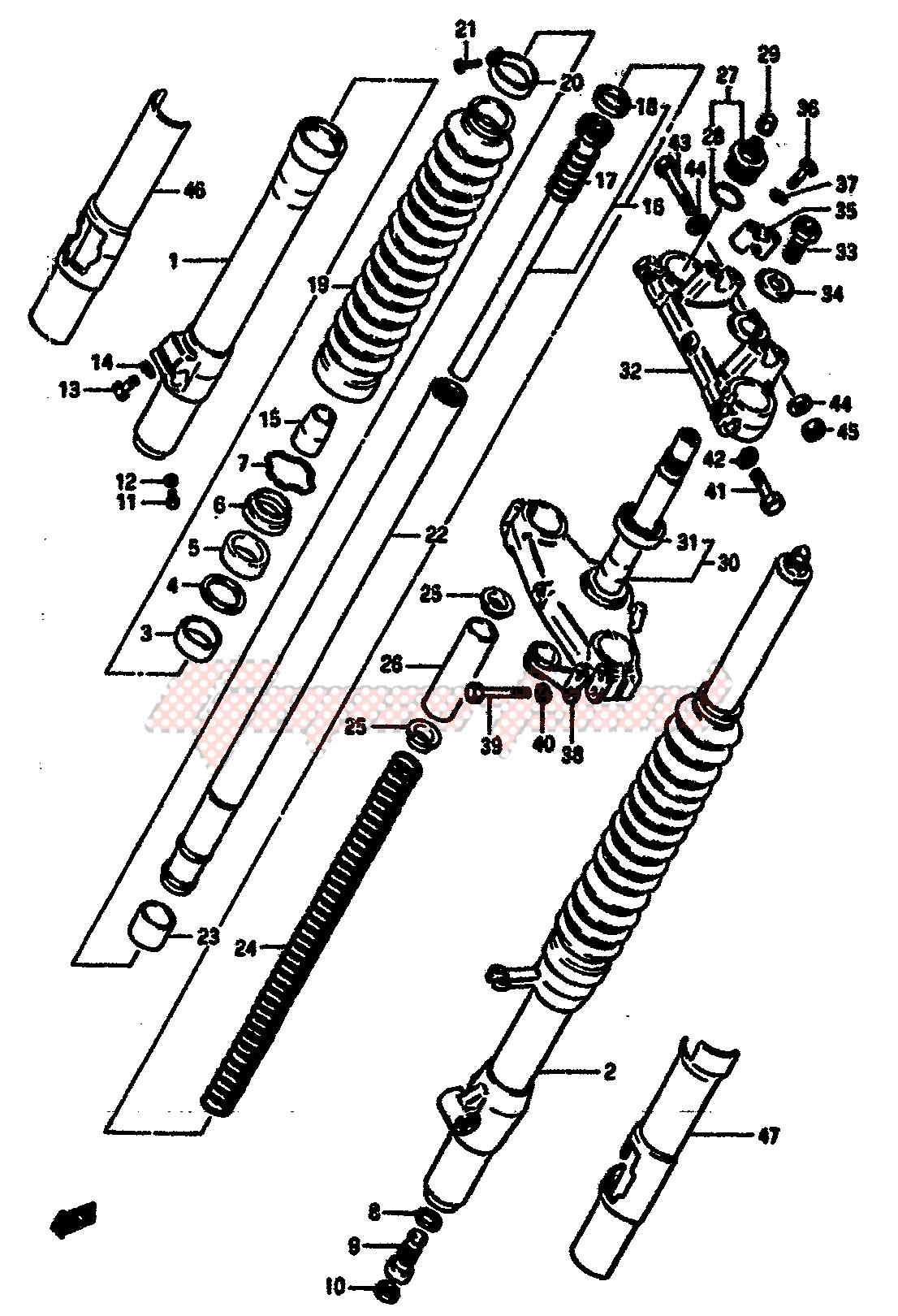 FRONT FORK (MODEL E) blueprint