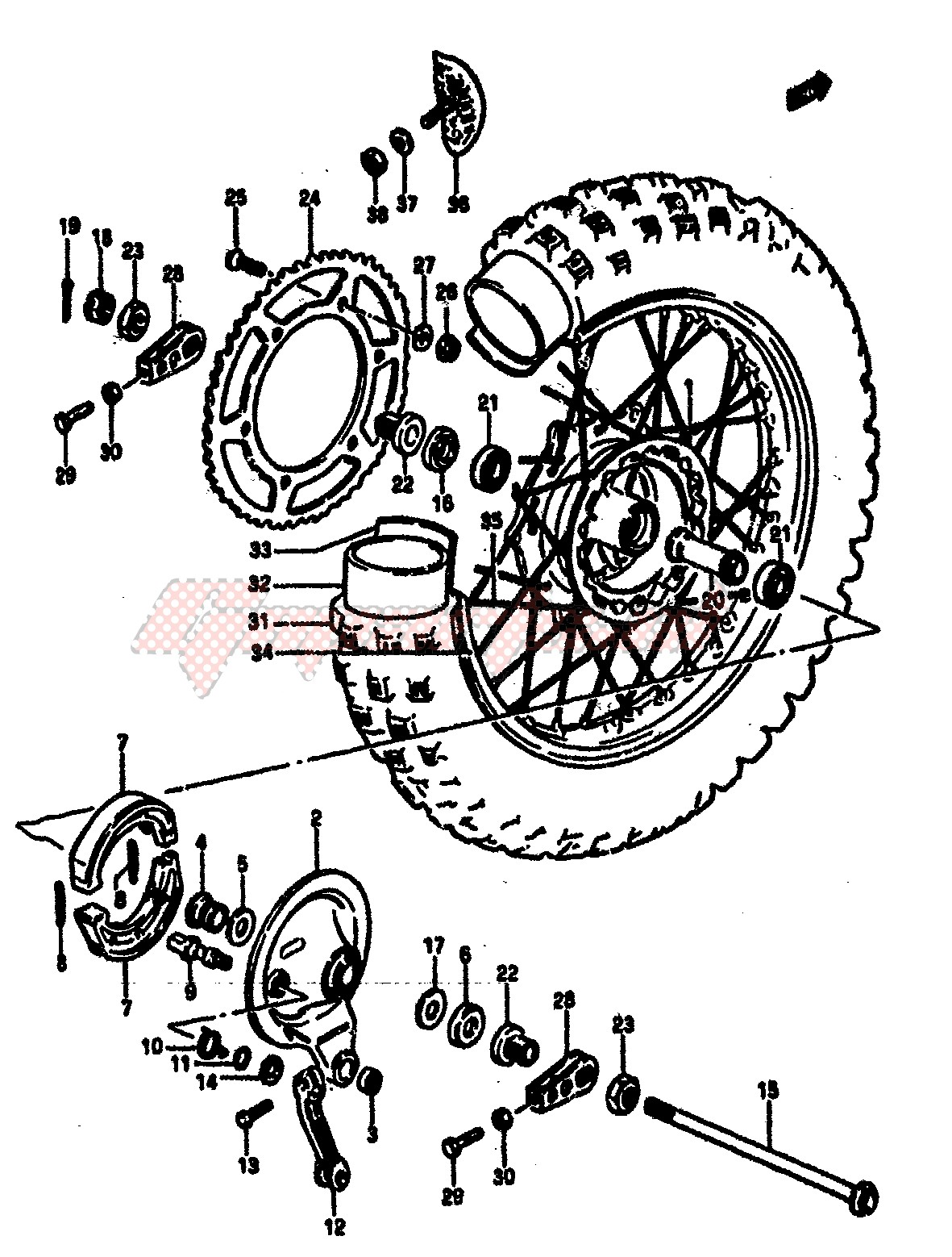 REAR WHEEL (MODEL E) blueprint