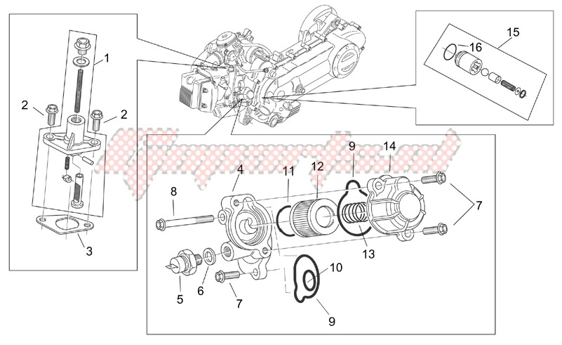 Engine-Oil filter - Chain tensioner