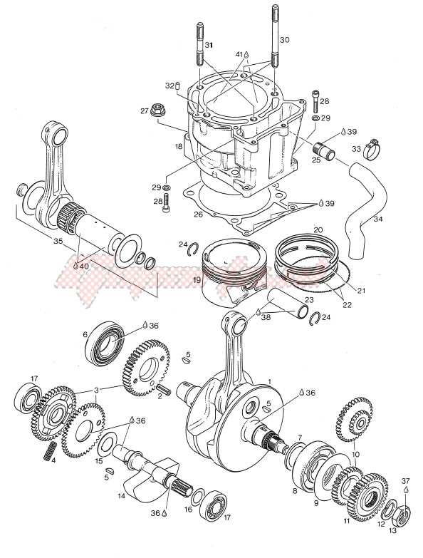 Engine-Drive shaft - Cylinder - Piston N-S