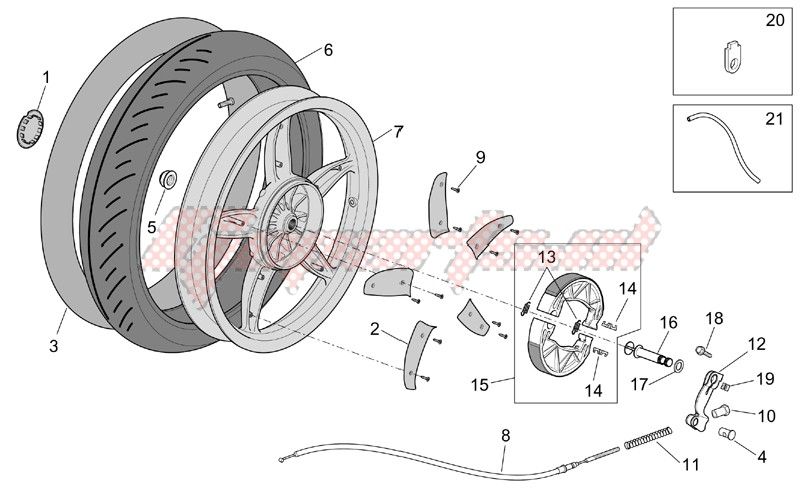 Frame-Rear wheel - drum brake