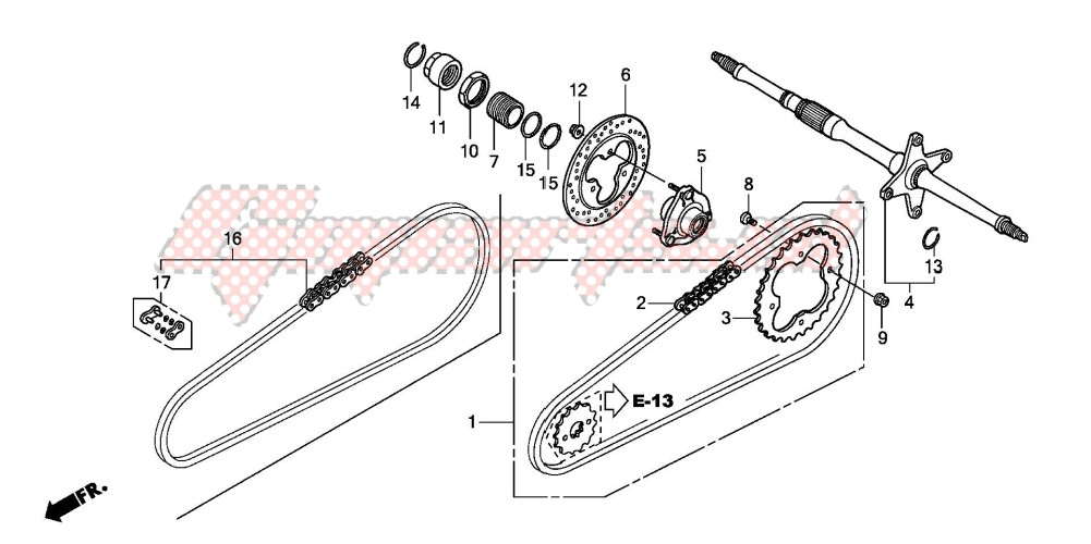 -REAR WHEEL AXLE