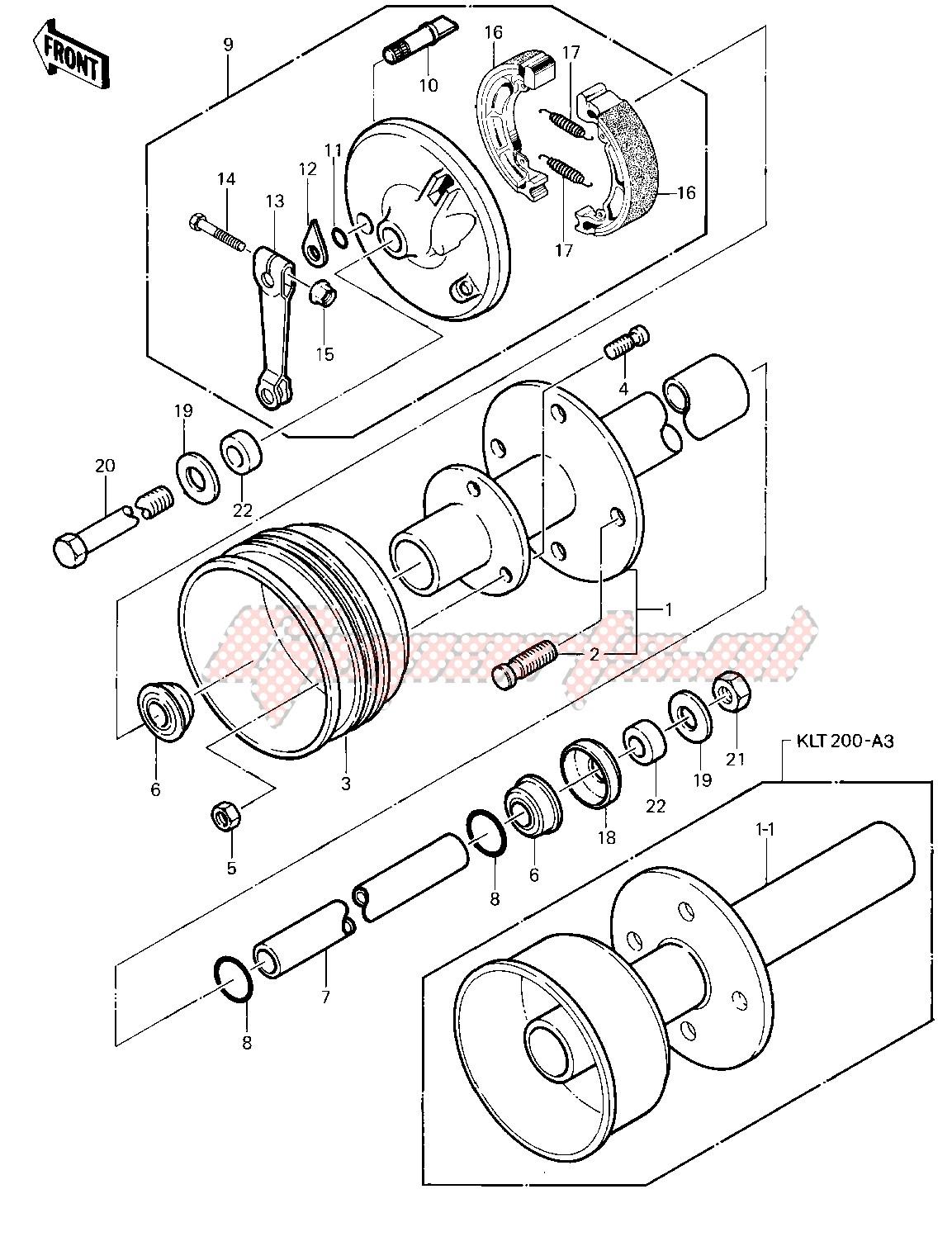 FRONT HUB_BRAKE -- 81-82 KLT200-A1_A2_A3- - image