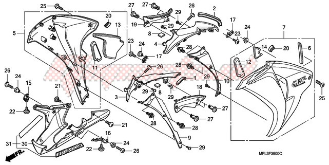 L HONDA 64375-MFL-000 COWL MIDDLE