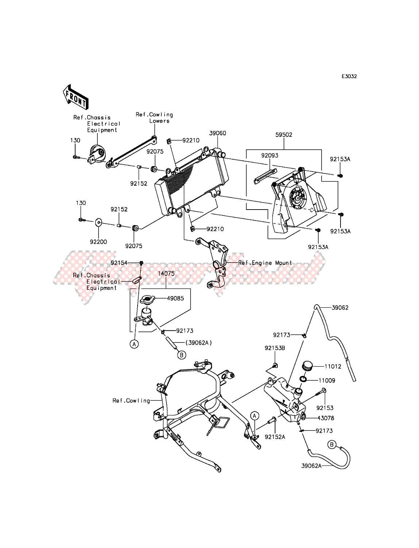OEM Radiator - Kawasaki [Motorcycle] NINJA 300 ABS EX300BEFA XX (EU ME  A(FRICA) / 2014 | Goparts | 2014 Ninja 300 Engine Diagram |  | Goparts