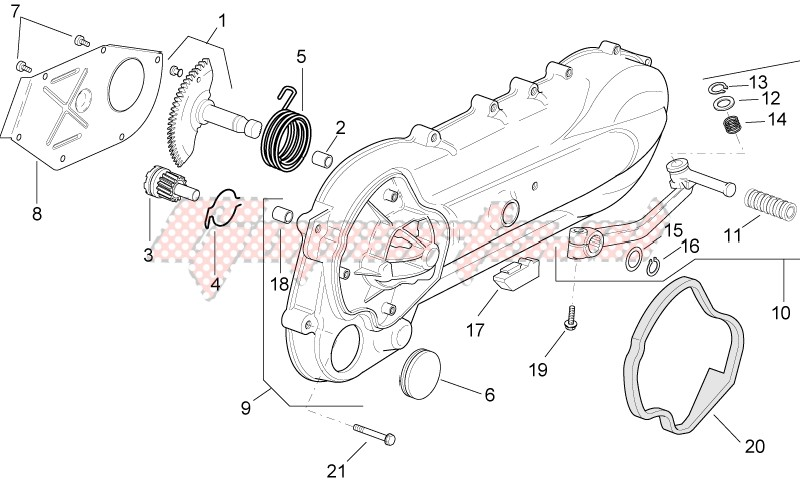 Engine-Clutch side cover - K-start assy.gear