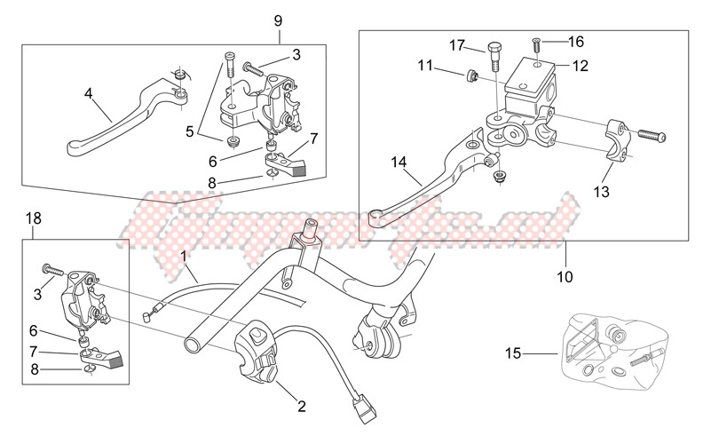 CLM Handlebar Scooter Lock 5729364 Stahl Invisible Kombi for Aprilia SCARABEO 50cc .2018