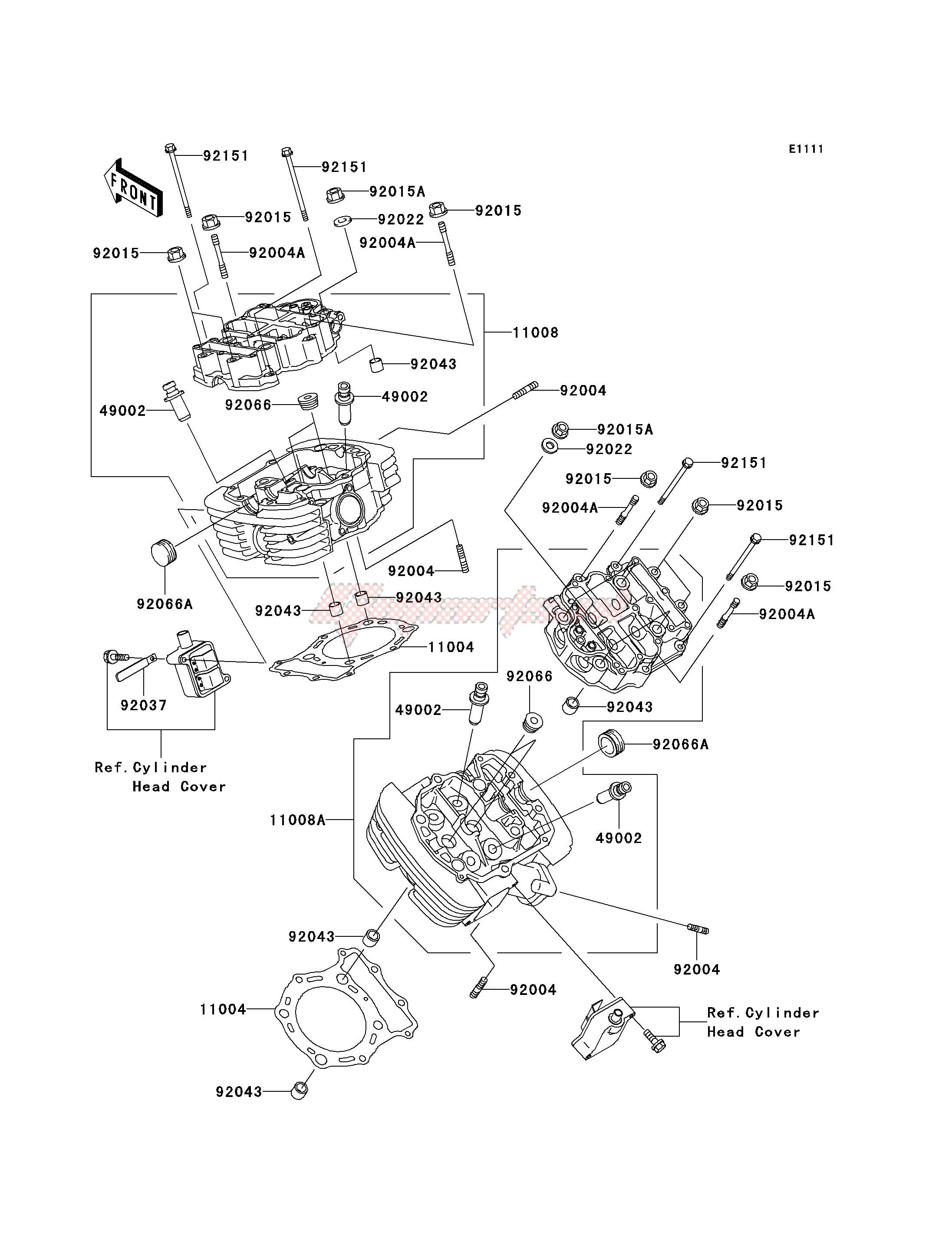 OEM CYLINDER HEAD - (Kawasaki [Motorcycle] VN 1500 P [VULCAN 1500 MEAN  STREAK] (P1-P2) [VULCAN 1500 MEAN STREAK] / 2003)   GopartsGoparts