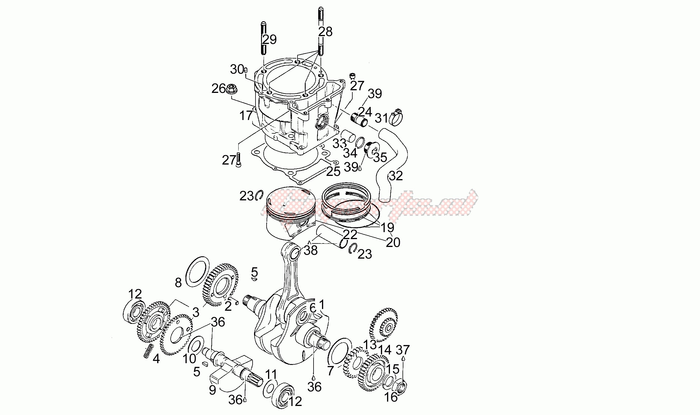 Engine-Drive shaft - Cylinder - Piston T