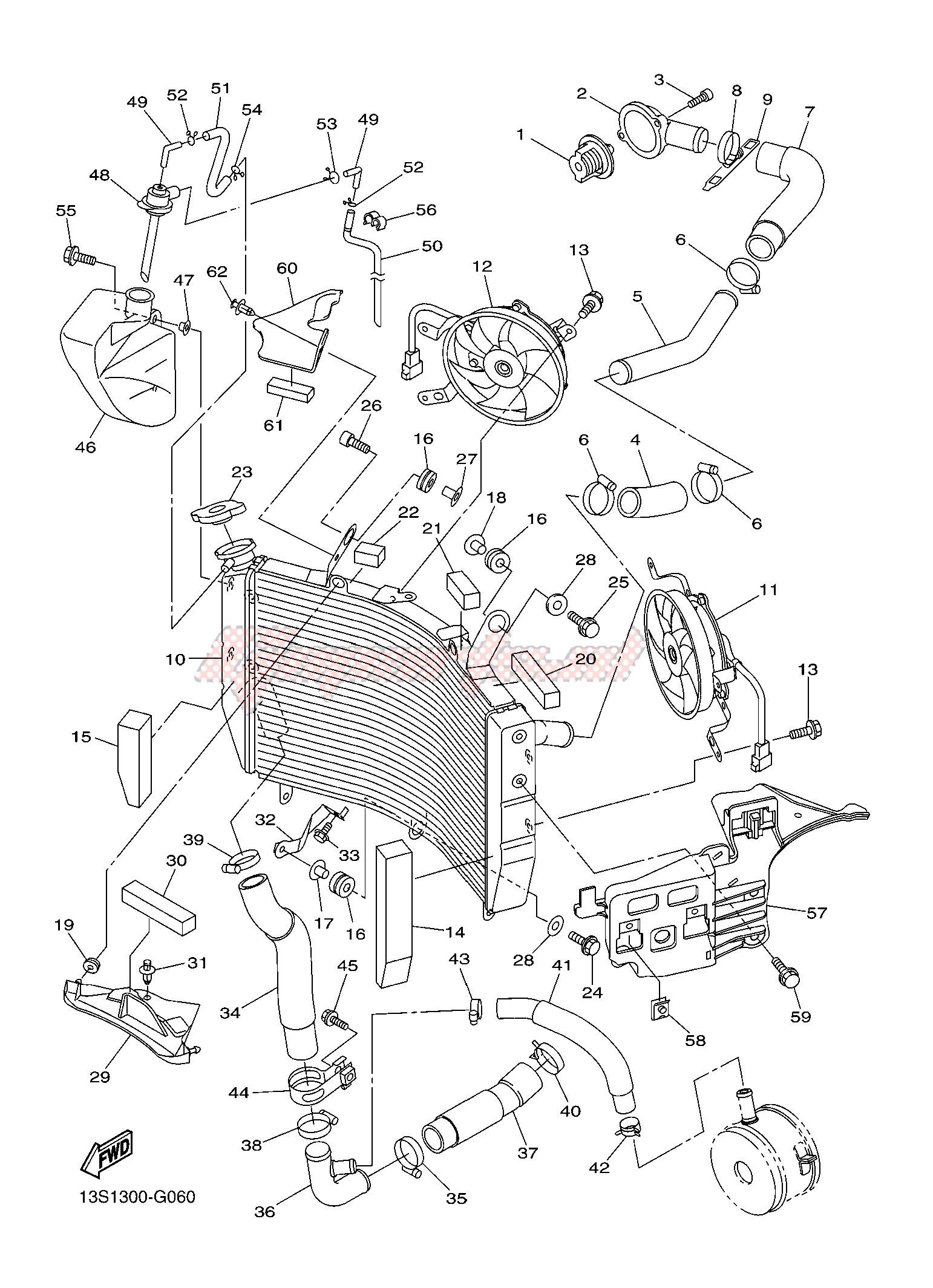 [DIAGRAM_5NL]  OEM RADIATOR & HOSE - (Yamaha [Motorcycle] YZF-R6 600 R6 (2CXE 2CXF) / 2015)  | Goparts | 2015 Moto Yamaha R6 Engine Diagram |  | Goparts