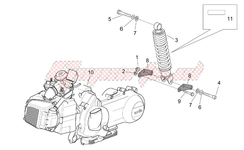 Engine-Engine - Rear shock absorber