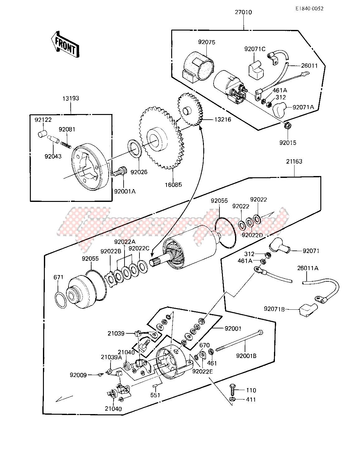 OEM STARTER MOTOR_STARTER CLUTCH - (Kawasaki [Motorcycle] EX 305 B [GPZ 305]  (B1) [GPZ 305] / 1983)   GopartsGoparts